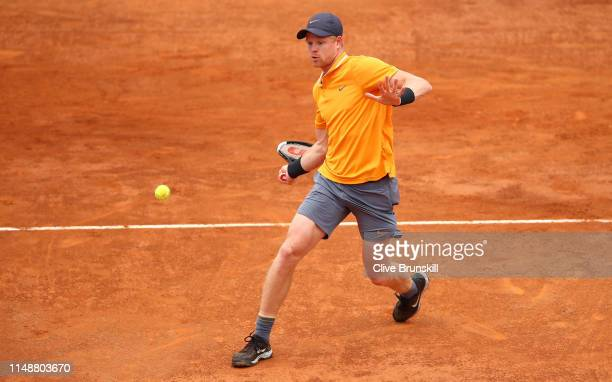 Kyle Edmund of Great Britain plays a forehand against Fernando Verdasco of Spain in their first round match during day two of the International BNL...