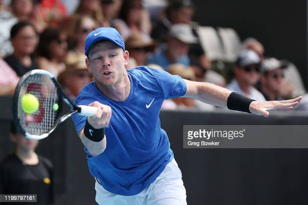 Kyle Edmund of Great Britain plays a forehand against John Isner of USA during their quarter final match on day four of the 2020 ASB Classic at ASB...