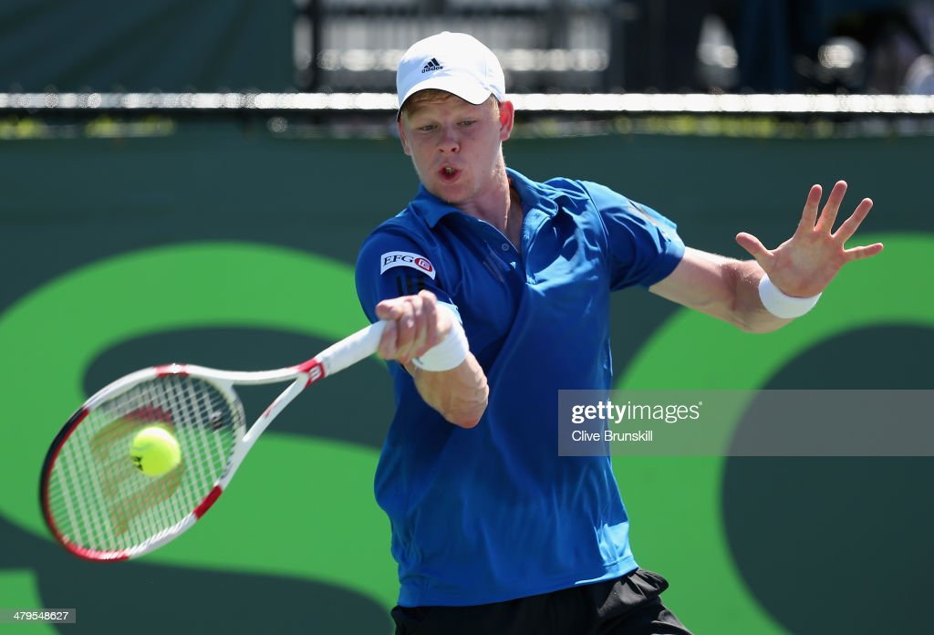 Kyle Edmund of Great Britain plays a forehand against Julien Benneteau of France during their first round match during day 3 at the Sony Open at Crandon Park Tennis Center on March 19, 2014 in Key Biscayne, Florida.