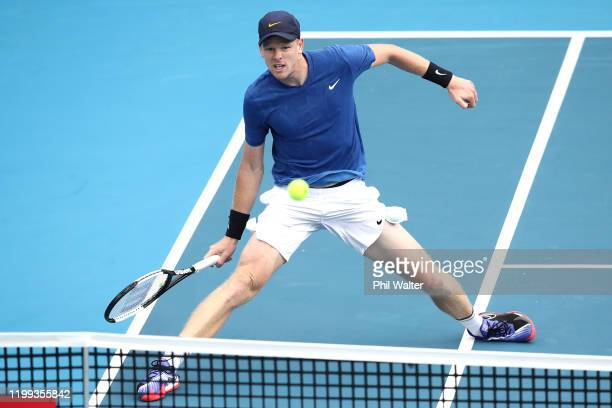 Kyle Edmund of Great Britain plays a forehand during his singles game against Alejandro Davidovich Fokina of Spain during day two of the 2020 Men's...