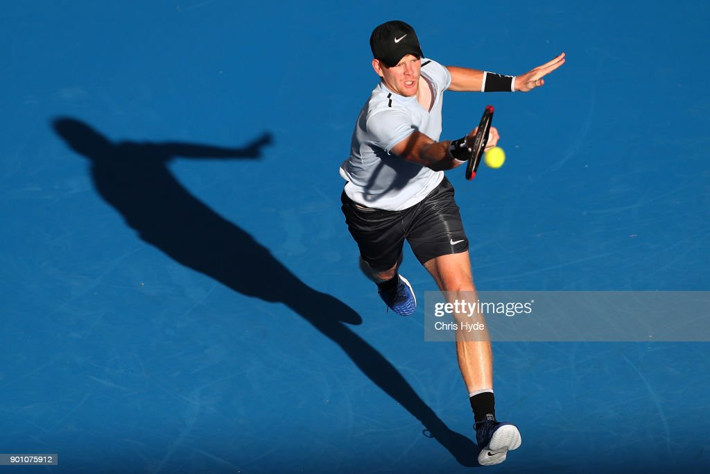 Kyle Edmund of Great Britain plays a forehand in his match against Hyeon Chung of Korea during day five of the 2018 Brisbane International at Pat Rafter Arena on January 4, 2018 in Brisbane, Australia.