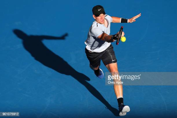 Kyle Edmund of Great Britain plays a forehand in his match against Hyeon Chung of Korea during day five of the 2018 Brisbane International at Pat...