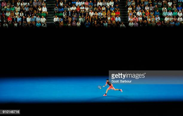 Kyle Edmund of Great Britain plays a forehand in his semifinal match against Marin Cilic of Croatia on day 11 of the 2018 Australian Open at...