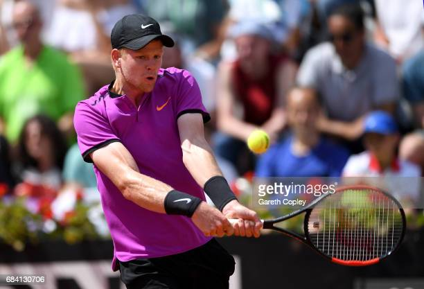 Kyle Edmund of Great Britain plays a shot during his second round match against Juan Martin Del Potro in The Internazionali BNL d'Italia 2017 at Foro...