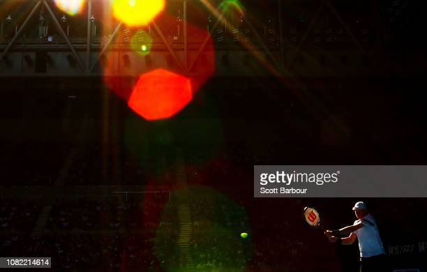 Kyle Edmund of Great Britain plays a shot in his first round match against Tomas Berdych of Czech Republic during day one of the 2019 Australian Open...