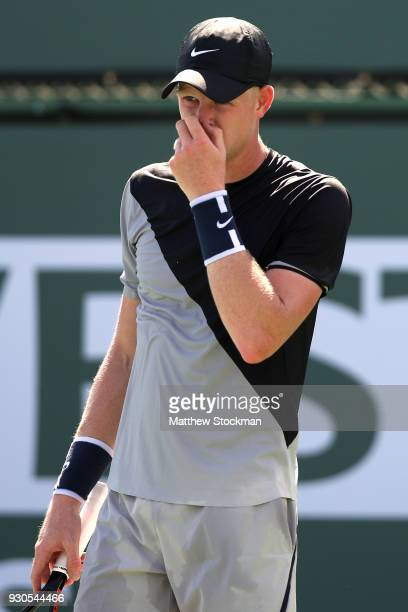 Kyle Edmund of Great Britain plays Dudi Sela of Israel during the BNP Paribas Open at the Indian Wells Tennis Garden on March 11 2018 in Indian Wells...