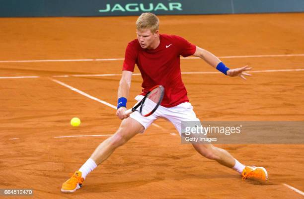 Kyle Edmund of Great Britain practices prior to the France v Great Britain Davis Cup World Group QuarterFinal on April 4 2017 in Rouen France