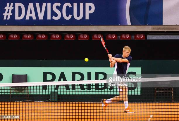 Kyle Edmund of Great Britain practices prior to the France v Great Britain Davis Cup World Group QuarterFinal on April 5 2017 in Rouen France