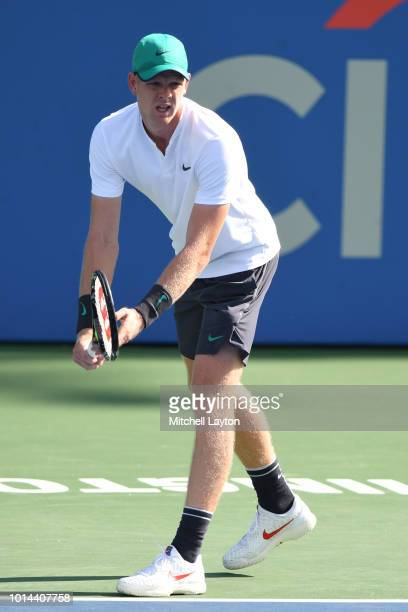 Kyle Edmund of Great Britain prepares to serve to Andy Murray of Great Britain during Day Five of the Citi Open at the Rock Creek Tennis Center on...