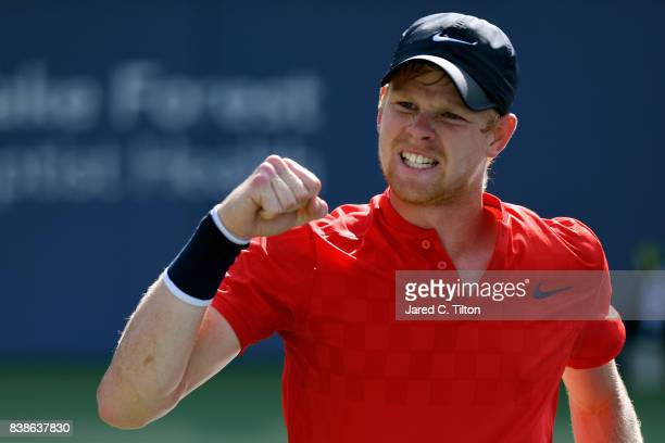 Kyle Edmund of Great Britain reacts after a point against Steve Johnson during their quarterfinals match of the WinstonSalem Open at Wake Forest...