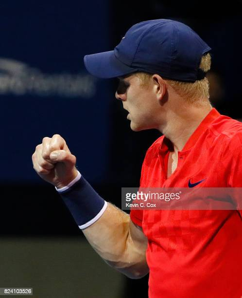 Kyle Edmund of Great Britain reacts after defeating Jack Sock during the BB&T Atlanta Open at Atlantic Station on July 28, 2017 in Atlanta, Georgia.