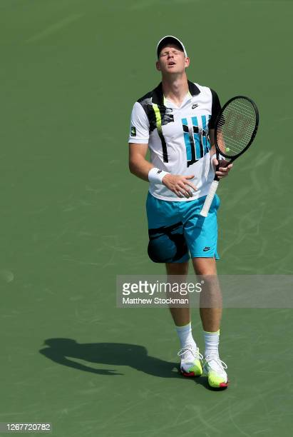 Kyle Edmund of Great Britain reacts against Kevin Anderson of South Africa during their Men's Singles First Round match on day three of the 2020...