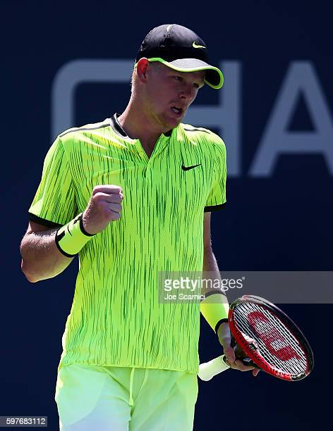Kyle Edmund of Great Britain reacts during his first round Men's Singles match against Richard Gasquet of France on Day One of the 2016 US Open at...