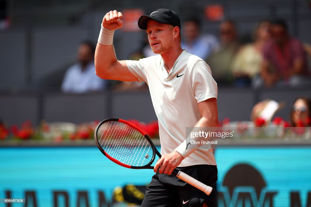 Kyle Edmund of Great Britain reacts during his second round match against Novak Djokovic of Serbia on day five of the Mutua Madrid Open at La Caja Magica on May 9, 2018 in Madrid, Spain.