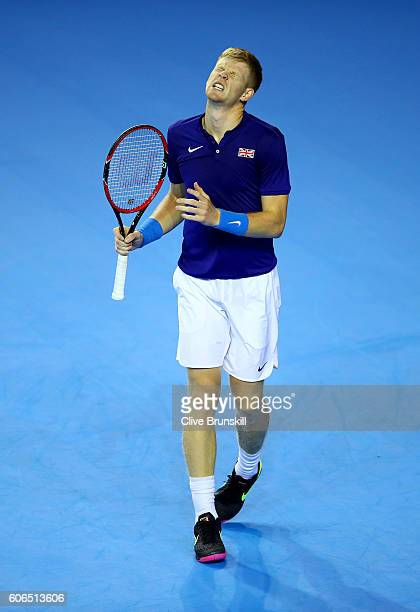 Kyle Edmund of Great Britain reacts during his singles match against Guido Pella of Argentina during day one of the Davis Cup Semi Final between...