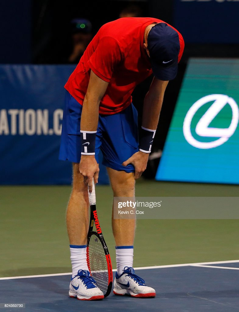Kyle Edmund of Great Britain reacts during the match against Ryan Harrison during the BB&T Atlanta Open at Atlantic Station on July 29, 2017 in Atlanta, Georgia.
