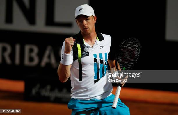 Kyle Edmund of Great Britain reacts in his round one match against Marco Cecchinato of Italy during day two of the Internazionali BNL d'Italia at...