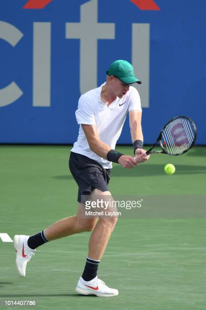 Kyle Edmund of Great Britain returns a backhand shot to Andy Murray of Great Britain during Day Five of the Citi Open at the Rock Creek Tennis Center...