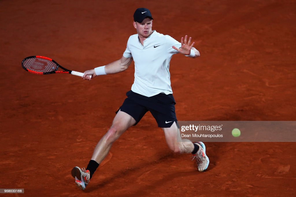 Kyle Edmund of Great Britain returns a forehand in his match against Malek Jaziri of Tunisia during day two of the Internazionali BNL d'Italia 2018 tennis at Foro Italico on May 14, 2018 in Rome, Italy.