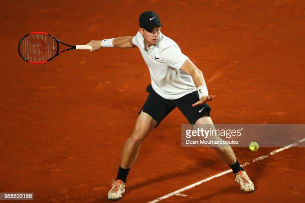 Kyle Edmund of Great Britain returns a forehand in his match against Malek Jaziri of Tunisia during day two of the Internazionali BNL d'Italia 2018...