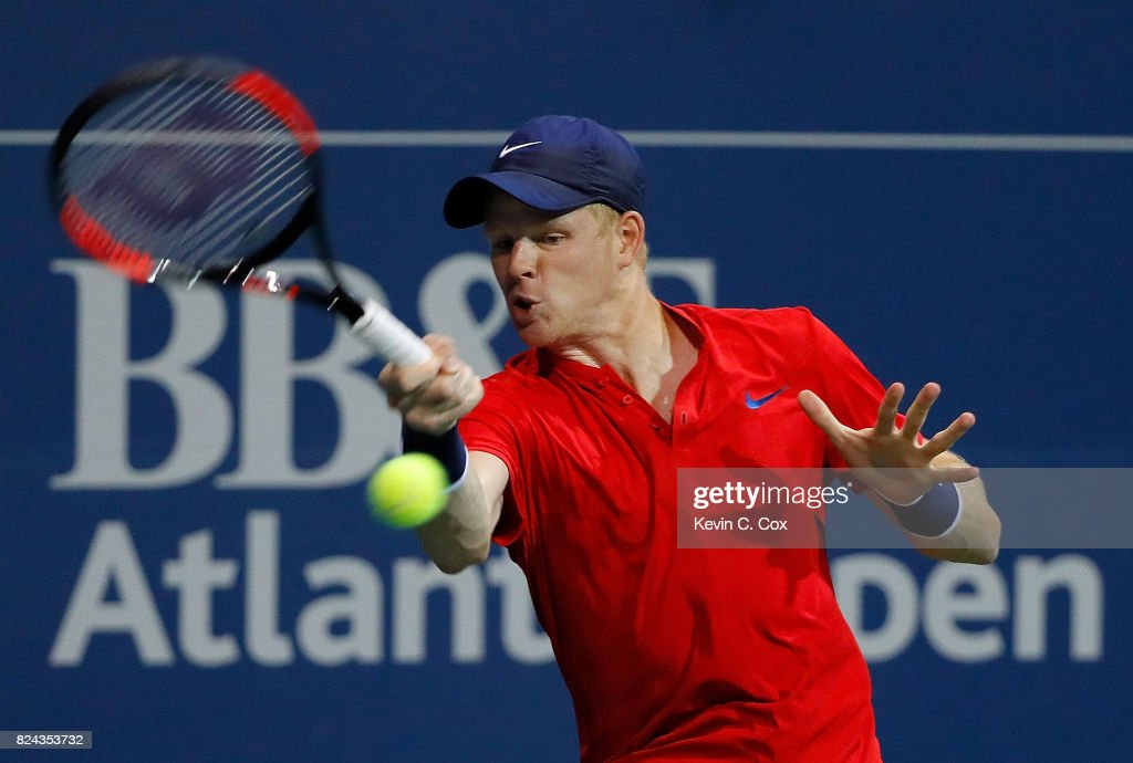Kyle Edmund of Great Britain returns a forehand to Ryan Harrison during the BB&T Atlanta Open at Atlantic Station on July 29, 2017 in Atlanta, Georgia.