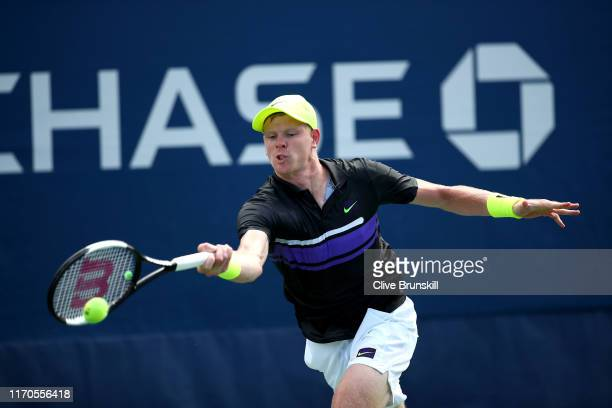 Kyle Edmund of Great Britain returns a shot against Pablo Andujar of Spain during their Men's Singles first round match on day two of the 2019 US...