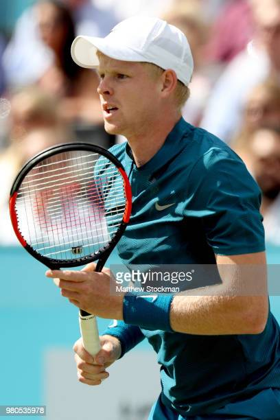 Kyle Edmund of Great Britain returns a shot during his men's singles match against Nick Kyrgios of Australia during Day Four of the FeverTree...