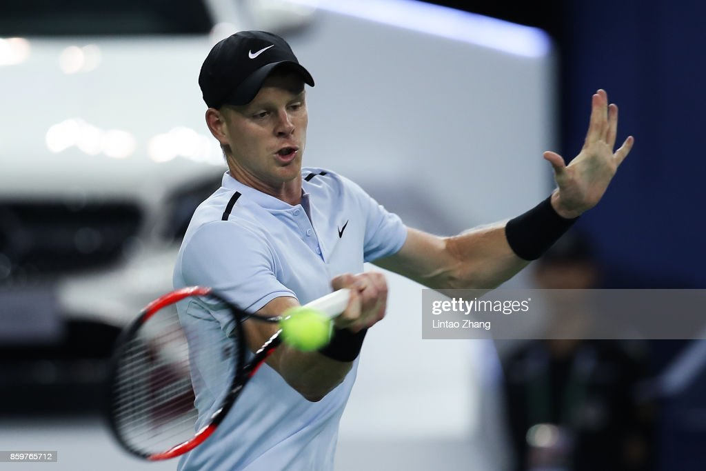 Kyle Edmund of Great Britain returns a shot during the Men's singles mach against Marin Cilic of Croatia on day three of 2017 ATP Shanghai Rolex Masters at Qizhong Stadium on October 10, 2017 in Shanghai, China.