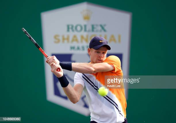Kyle Edmund of Great Britain returns a shot to Andreas Seppi of Italy during the Second Round match of Men's Single match in 2018 Rolex Shanghai...