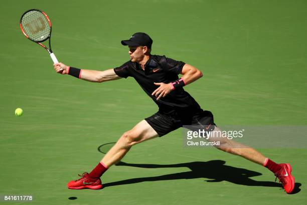 Kyle Edmund of Great Britain returns a shot to Denis Shapovalov of Canada during their third round match on Day Five of the 2017 US Open at the USTA...