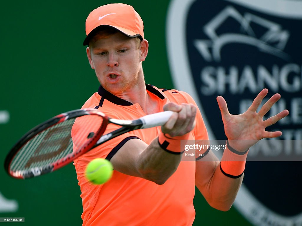 Kyle Edmund of Great Britain returns a shot to Federico Delbonis of Argentina during first round of ATP Shanghai Rolex Masters 2016 on Day 1 at Qi Zhong Tennis Centre on October 10, 2016 in Shanghai, China.