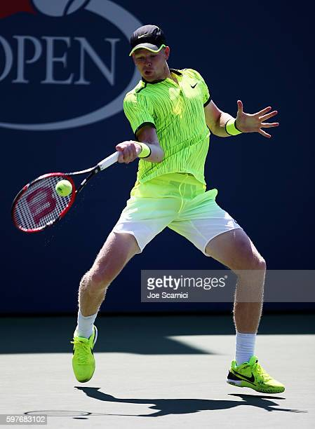 Kyle Edmund of Great Britain returns a shot to Richard Gasquet of France during his first round Men's Singles match on Day One of the 2016 US Open at...