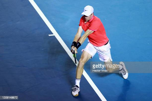 Kyle Edmund of Great Britain returns the ball during the singles match between Taylor Fritz of USA and Kyle Edmund of Great Britain as part of the...