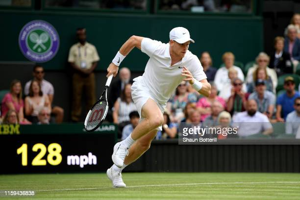 Kyle Edmund of Great Britain runs to play a shot in his Men's Singles first round match against Jaume Munar of Spain during Day one of The...