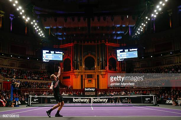 Kyle Edmund of Great Britain serves during his Tie Break Tens singles match against Xavier Malisse of Belgium during day four of the Masters Tennis...