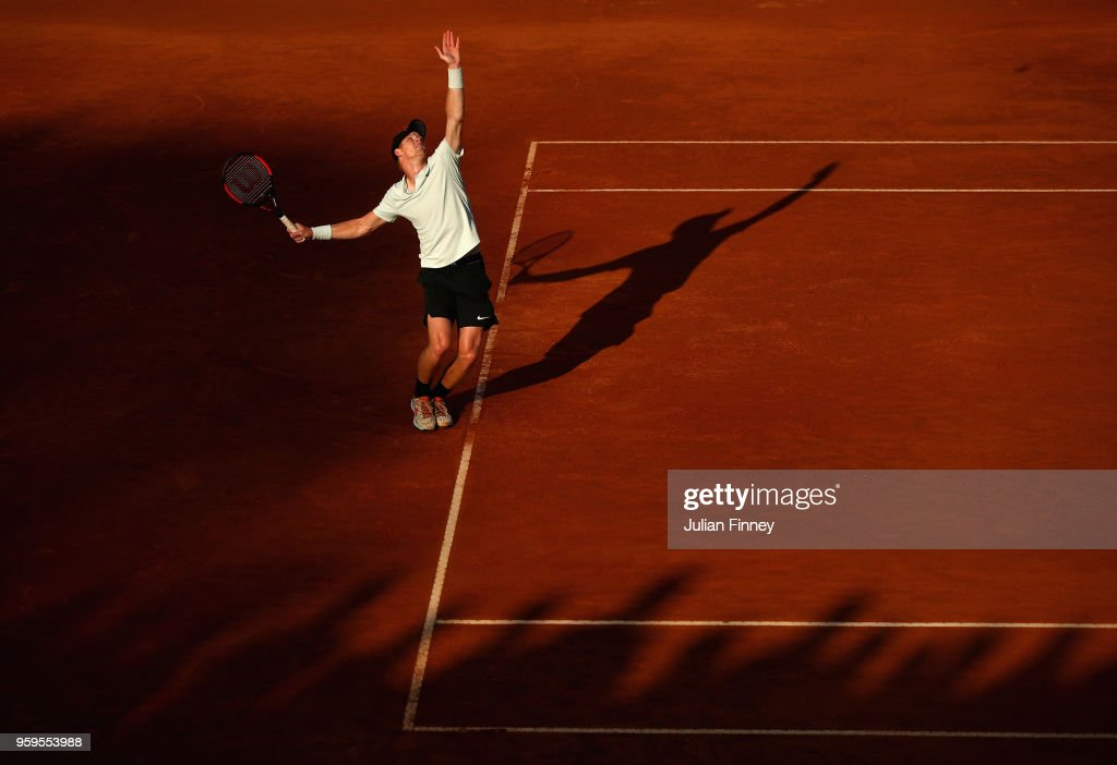 Kyle Edmund of Great Britain serves during the men's singles match against Alexander Zverev of Germany during day five of the Internazionali BNL d'Italia 2018 tennis at Foro Italico on May 17, 2018 in Rome, Italy.
