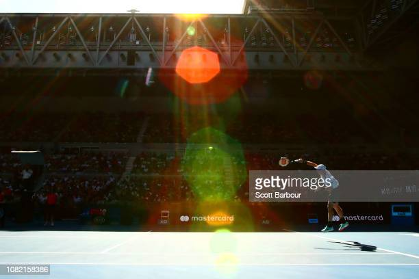 Kyle Edmund of Great Britain serves in his first round match against Tomas Berdych of Czech Republic during day one of the 2019 Australian Open at...