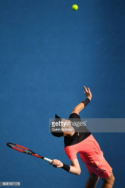 Kyle Edmund of Great Britain serves in his fourth round match against Andreas Seppi of Italy on day seven of the 2018 Australian Open at Melbourne...