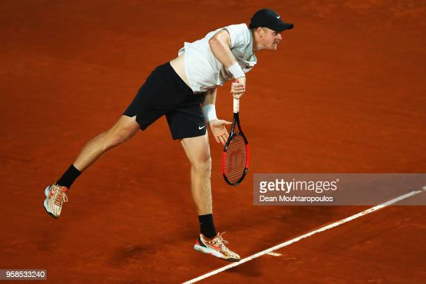 Kyle Edmund of Great Britain serves in his match against Malek Jaziri of Tunisia during day two of the Internazionali BNL d'Italia 2018 tennis at...