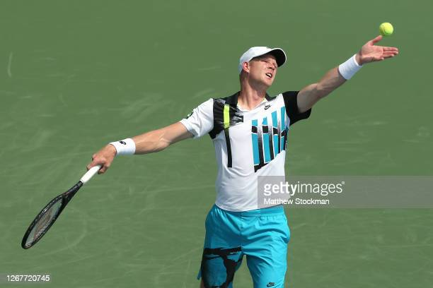 Kyle Edmund of Great Britain serves the ball against Kevin Anderson of South Africa during their Men's Singles First Round match on day three of the...