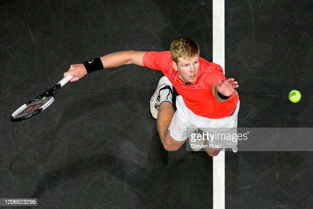 Kyle Edmund of Great Britain serves the ball during his Men's Singles semifinal match against Miomir Kecmanovic of Serbia on day six of the 2020 NY...