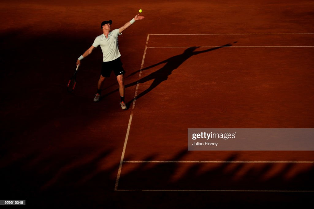 Kyle Edmund of Great Britain serves to Alexander Zverev of Germany during day five of the Internazionali BNL d'Italia 2018 tennis at Foro Italico on May 17, 2018 in Rome, Italy.