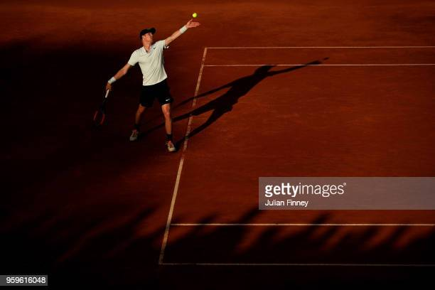 Kyle Edmund of Great Britain serves to Alexander Zverev of Germany during day five of the Internazionali BNL d'Italia 2018 tennis at Foro Italico on...