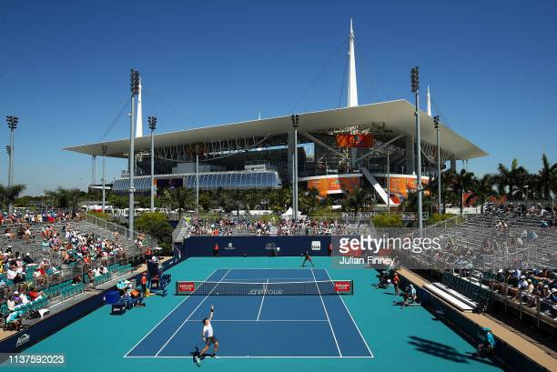 Kyle Edmund of Great Britain serves to Ilya Ivashka of Belarus during day five of the Miami Open Tennis on March 22, 2019 in Miami Gardens, Florida.