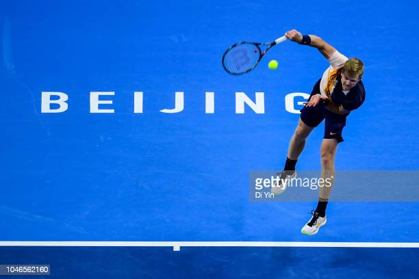 Kyle Edmund of Great Britain serves to Nikoloz Basilashvili of Georgia during his Men's Singles Semifinals match in the 2018 China Open at the China...