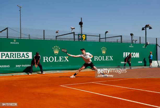 Kyle Edmund of Great Britain stretches for a forehand return during his Mens Singles match against Andreas Seppi of Italy at MonteCarlo Sporting Club...