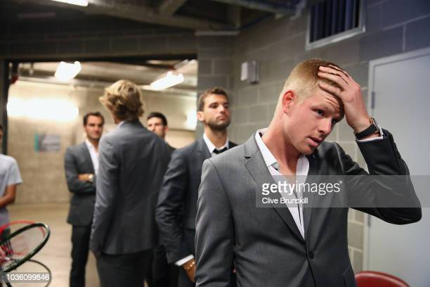 Kyle Edmund of Team Europe waits backstage to be unveiled at the official welcome ceremony prior to the Laver Cup at the United Center on September...