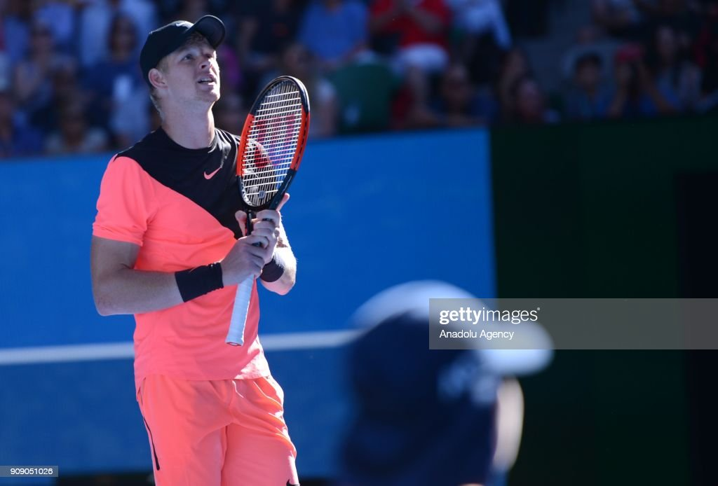 Kyle Edmund of United Kingdom gestures during the ninth day of 2018 Australia Open tennis tournament against Grigor Dimitrov (not seen) of Bulgaria at Melbourne Park in Melbourne, Australia on January 23, 2018.