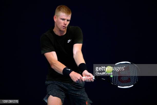 Kyle Edmund plays a backhand during practice for the Schroders Battle of the Brits at National Tennis Centre on June 22, 2020 in London, England.
