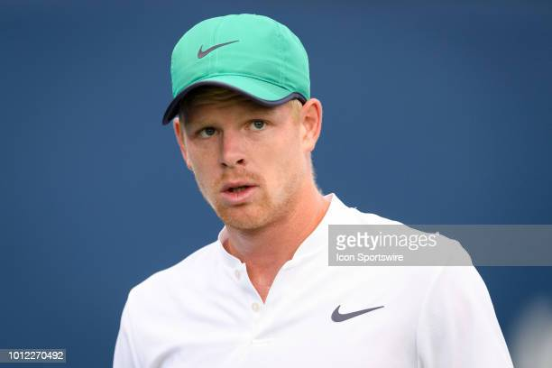Kyle Edmund reacts during his first round match of the Rogers Cup tennis tournament on August 6 at Aviva Centre in Toronto ON Canada